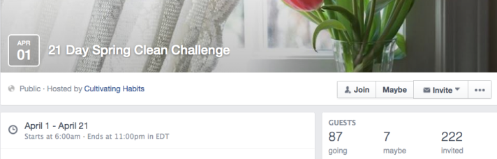 21 Day Spring Clean Challenge Facebook